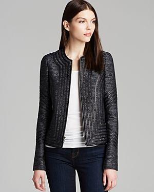 DVF sleek tweed jacket - indigo with black leather. Contemporary DressesModern  ClothingTweed JacketsDiane Von FurstenbergDress ...