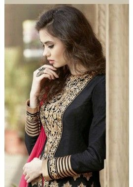 banglori noir costume Anarkali de soie