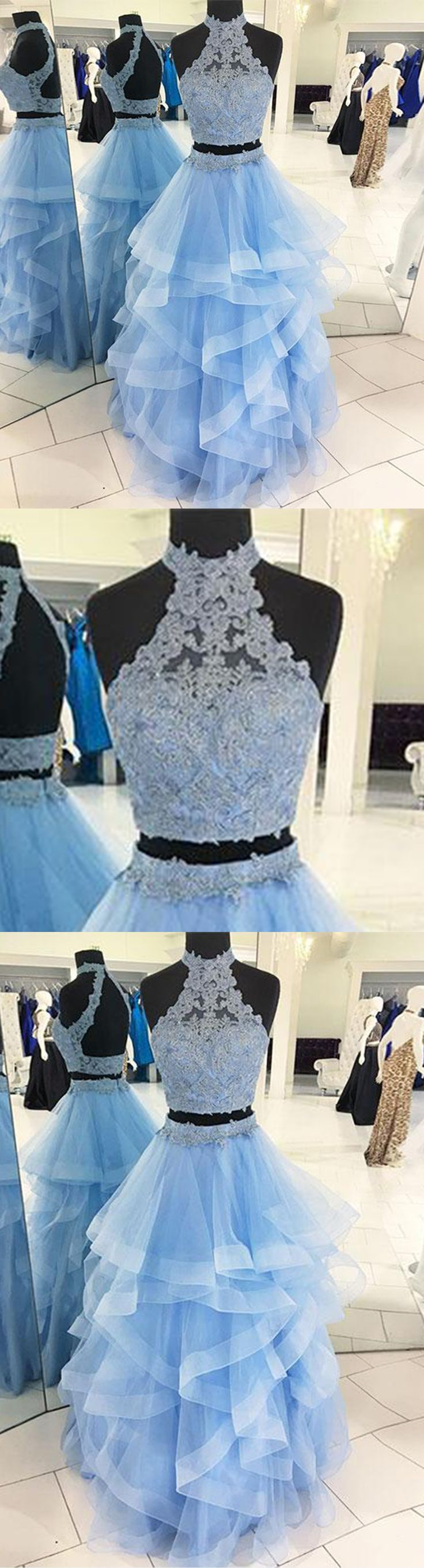 Two Pieces Prom Dresses | It's ice blue, high neck and made of lace and tulle #prom #dress #promdress