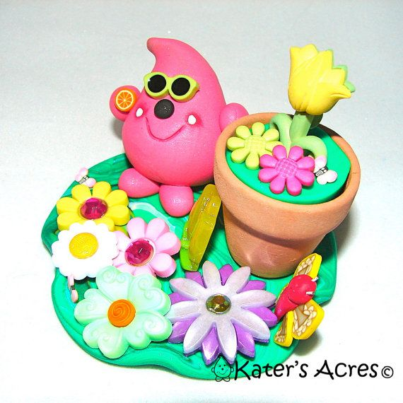 Flower Pot PARKER  Polymer Clay Sculpted Character  by KatersAcres, $29.00