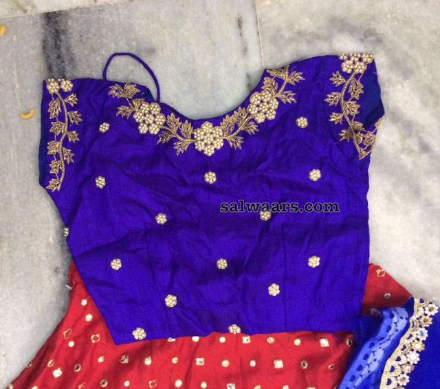 Red Crop Top with Blue Blouse - Indian Dresses