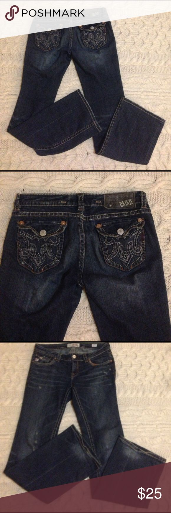 """MEK Jeans These jeans from MEK are the Durham boot cut fit. They are in great condition, just a little wear on the hemline. The inseam is 33"""" and the front rise is 8"""". MEK Jeans Boot Cut"""