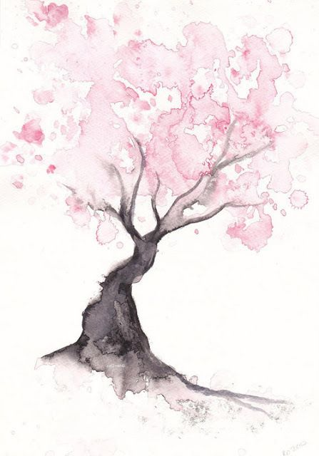 watercolor of a cherry blossom tree