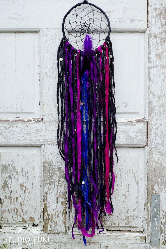 Dreamcatcher, Black and Purple, Halloween, Witches Decor, Bohemian, Gypsy, Boho Chic, Festival, Native, Dream Catcher, Wall Hanging by Studio Yuki