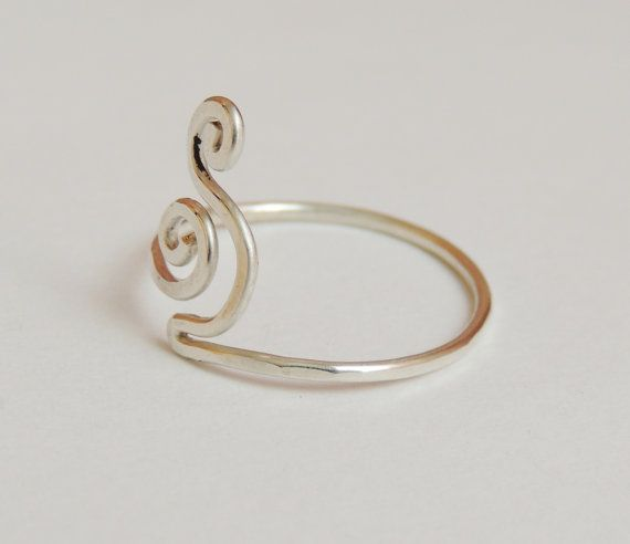 Curly wave wire ring  sterling silver wire gauge 18  by keoops8