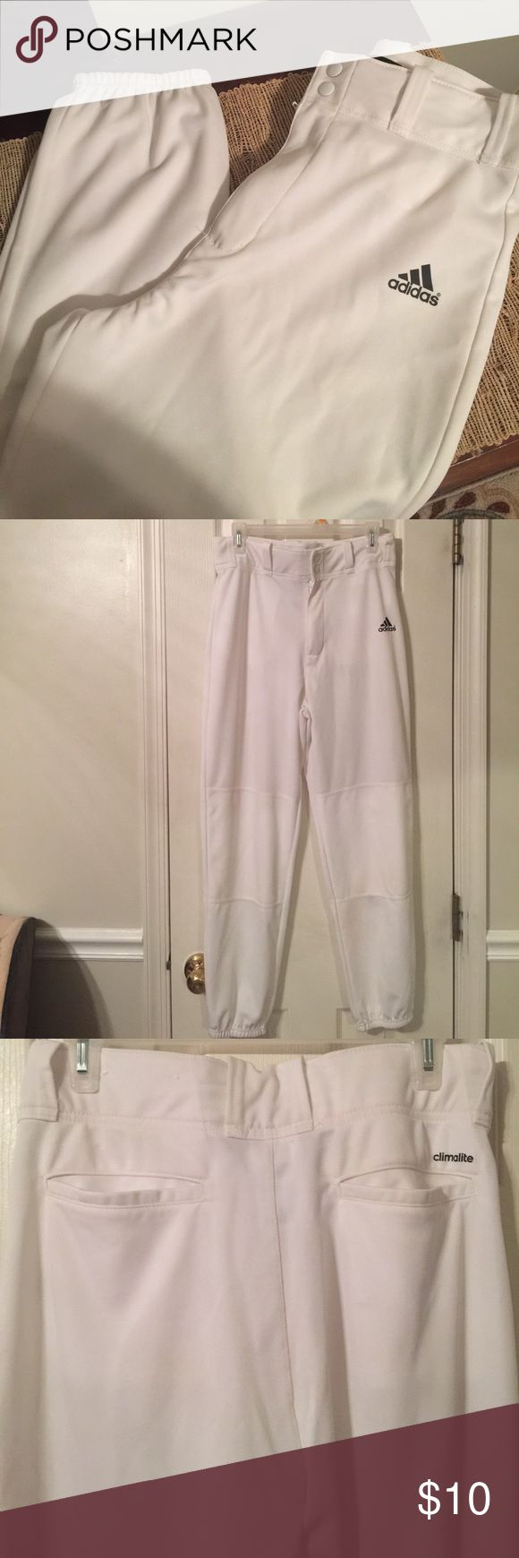 Adidas Baseball Pants Men's size medium.  White with black lettering.  Only worn once, great condition.  Initials are written in marker on the tag (see pic).  Double snap in front & 2 rear pockets.  One ver light stain on bottom left leg (see pic). adidas Pants