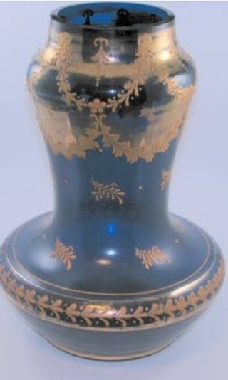 Carl Goldberg . Huge cobalt blue vase with gold enamel