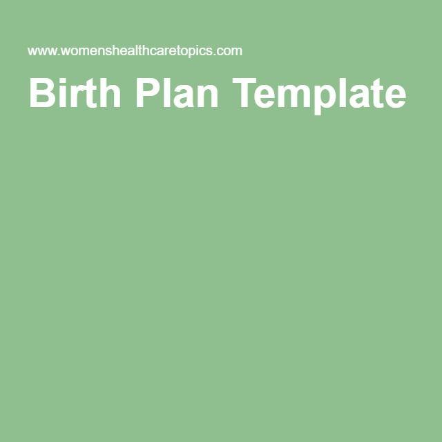 Free Birth Plan Printable