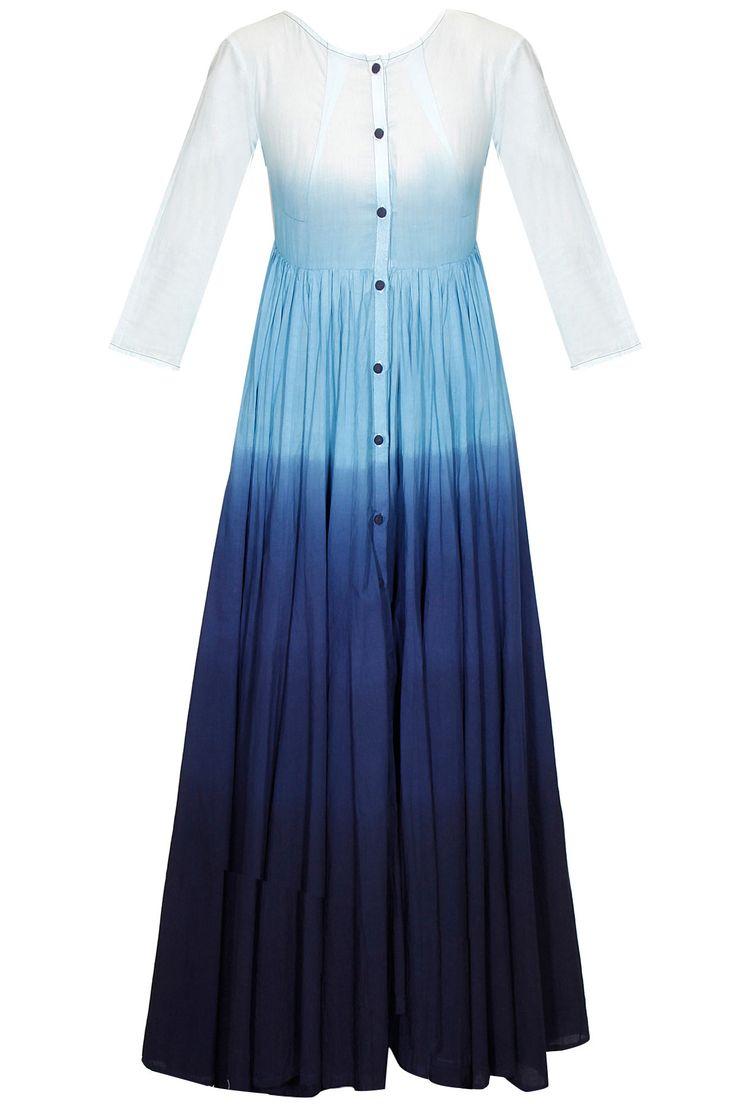 Blue dip-dye long dress by Ka-Sha. Shop now: http://www.perniaspopupshop.com/designers/ka-sha #dress #kasha #shopnow #perniaspopupshop
