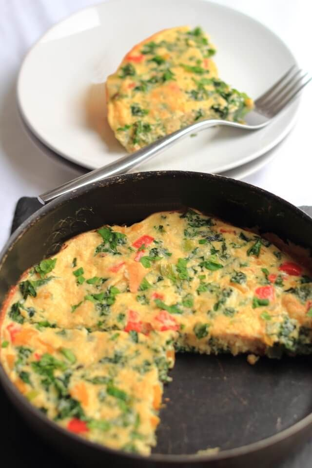 This kale and pepper frittata is not only really tasty but it's packed with protein and full of healthy nutritional ingredients too. This is a great brunch for the weekend and hits the spot perfectly. The peppers which are rich in vitamins A, C and K add a delicious sweetness and crunch to this hearty recipe.