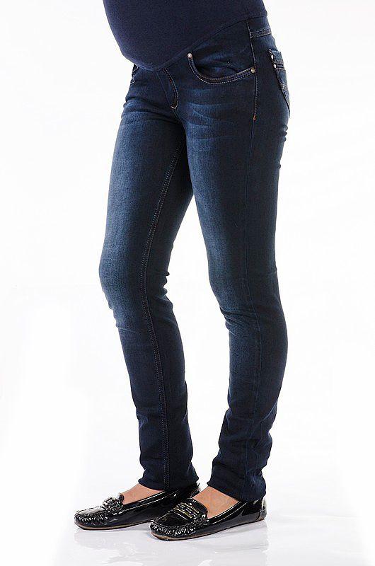 Стильные темно-синие джинсы для беременных с высокой трикотажной вставкой, которая хорошо поддерживает живот. #джинсыдлябеременных,#недорогаяодеждадлябеременных