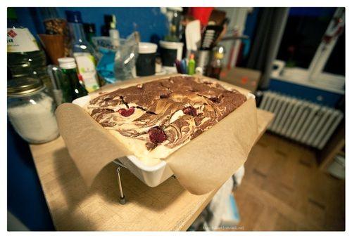 brownies met frambozen-cheesecake