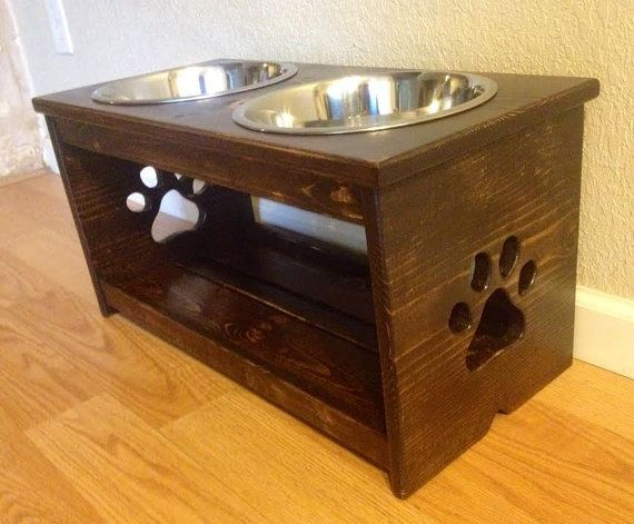 12 Raised Dog Feeder with Paw Prints Full by CustomWoodworksATX