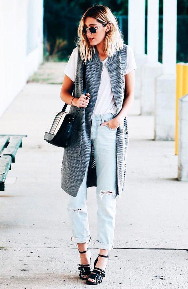 street style look com colete cinza.