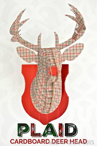 Plaid Cardboard Deer Head