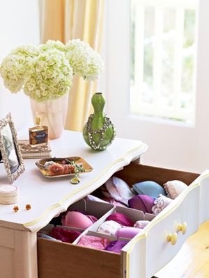 Separate bras and undies with drawer dividers. Use velvet dividers ($8 for six; organize.com) to sort lingerie into sections according to type (bras, undies, and camisoles) and function (everyday garments stay up front; strapless bras are tucked in the back).
