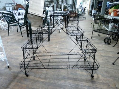Victorian-antique-outdoor-wire-tiered-planter-on-wheels