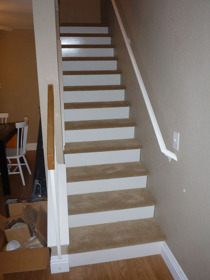 our new stairs 1 8 inch wood white board cut and put on. Black Bedroom Furniture Sets. Home Design Ideas