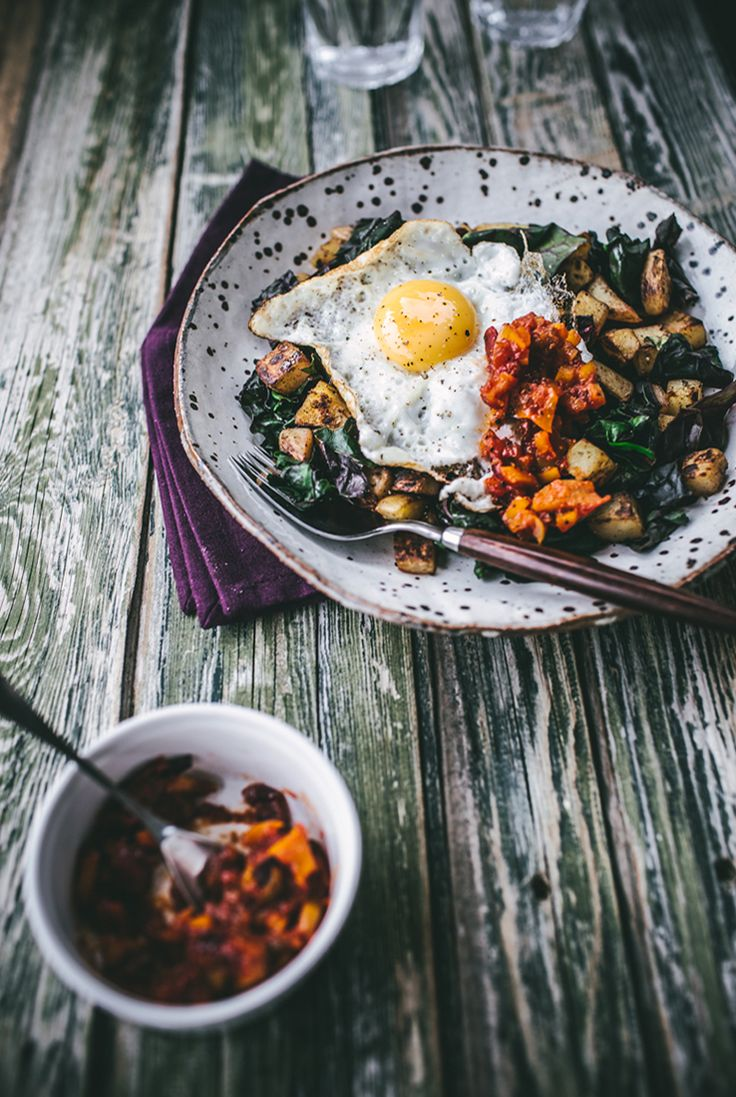 Top with Cinnamon's Chard Hash with Red Pepper Salsa | west elm Border Stitch Napkin