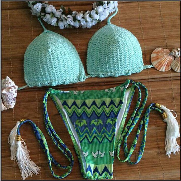 Aubrey Green Aztec Pattern Crochet Bikini