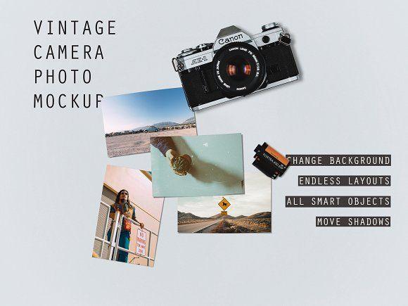 VINTAGE CAMERA PHOTO MOCKUP PSD - Product Mockups