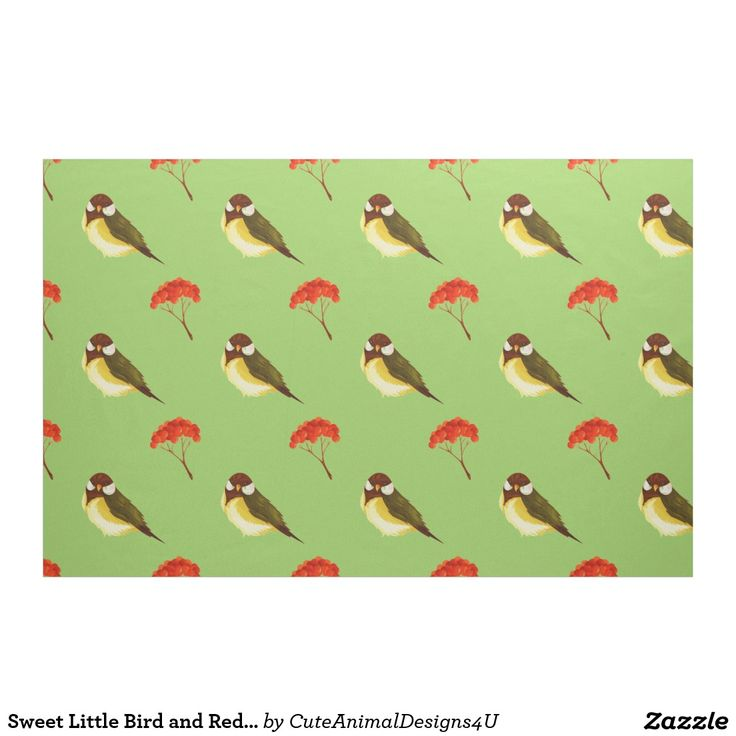 Sweet Little Bird and Red Berries Fabric
