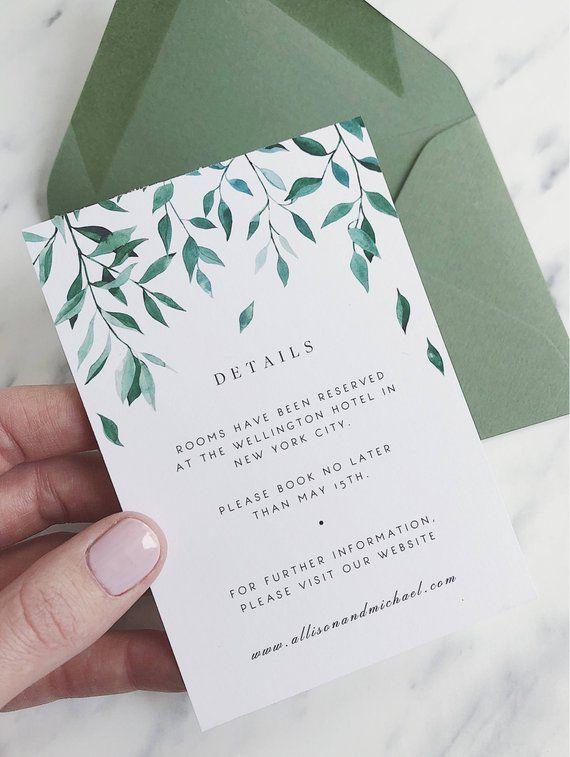 Greenery Wedding Details Card Template Green Leaf Wedding Details Card Wedding Information Card Wedding Insert Card Diy Wedding Template 03 In 2021 Wedding Details Card Wedding Cards Wedding Invitation Templates