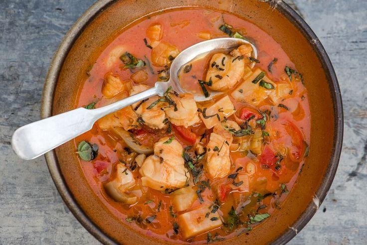 Seafood Stew - Dr. Mark Hyman- leeks, bell peppers, garlic, tomato puree, coconut milk, celery root, white fish, lemon juice