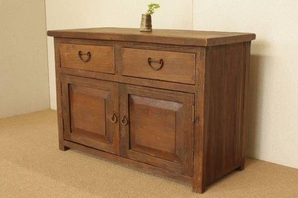 Cabinet 『癒し』チーク自然杢 アンティーク家具 無垢キャビネット北欧 インテリア 雑貨 Antique ¥69000yen 〆09月26日