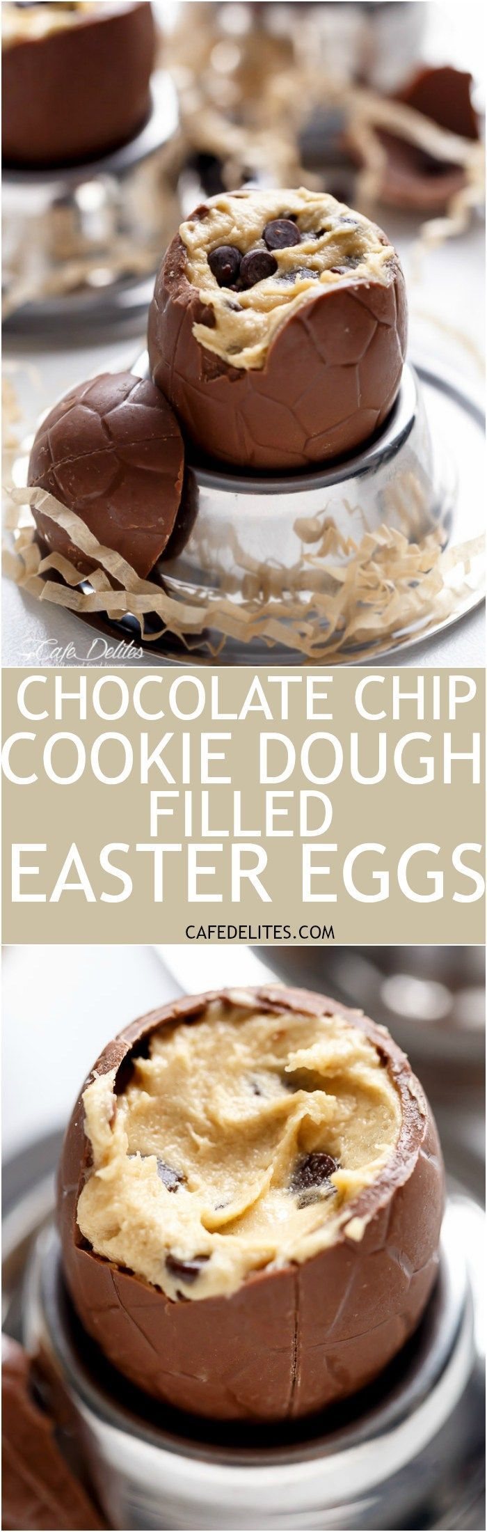 Chocolate Chip Cookie Dough Filled Easter Eggs! Perfect for any event, party OR to use up those Easter eggs in a completely decadent way! | http://cafedelites.com