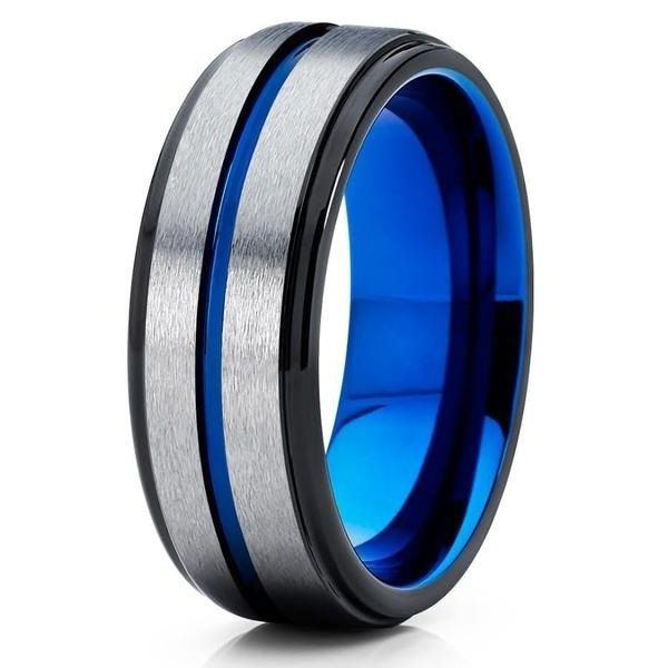 Blue Tungsten Wedding Band Personalized 6mm Tungsten Ring Engraving