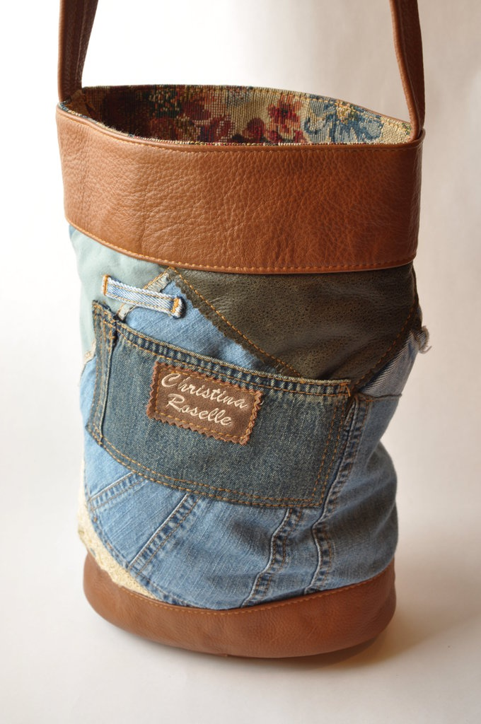 "Denim 38"" long strap  9 ½""W x 13 ½""H x 3 ½""D"