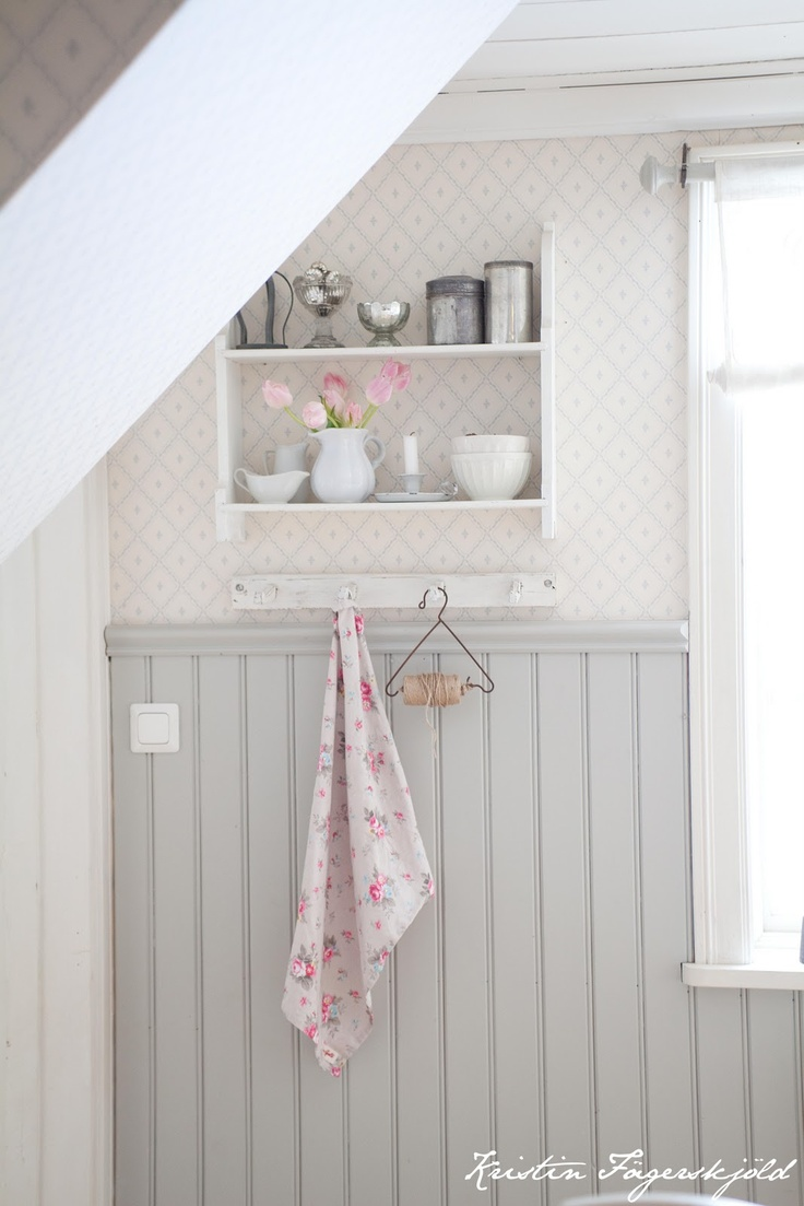 gray beadboard.... love it with the faint wallpaper! could even stencil…