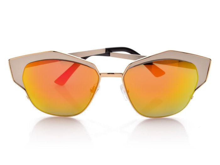 Okulary Sloneczne Kocie Oczy Lustrzanki Damskie 1908 Mirrored Sunglasses Glasses Sunglasses