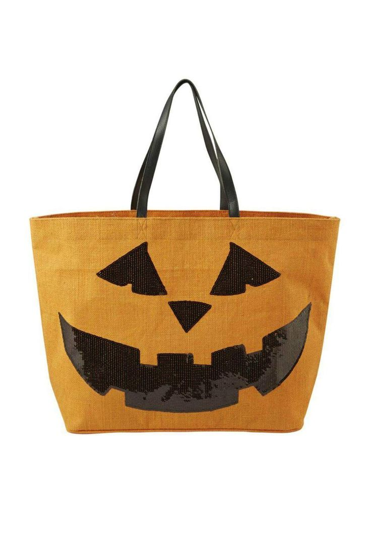 "Halloween Pumpkin Jute Tote features a smiling sequin pumpkin with genuine leather handles. Laminated wipe-clean interior and interior pocket.    Dimensions: 14"" x 22"" x 6 1/2""   Halloween Pumpkin Tote by Mud Pie. Home & Gifts - Home Decor - Holiday Florida"