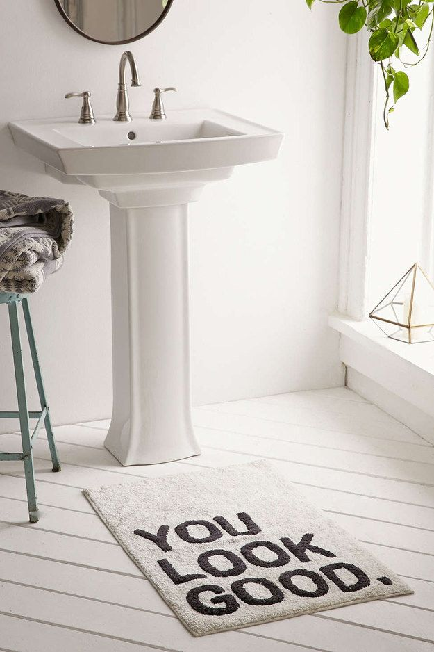 A cushiony bath mat that'll pay you a compliment as you step up to the sink.