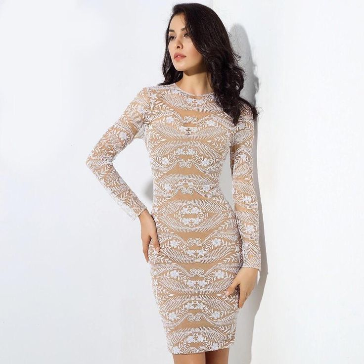 Mercury Moon White Embroidered Long Sleeve Bodycon Mini Dress