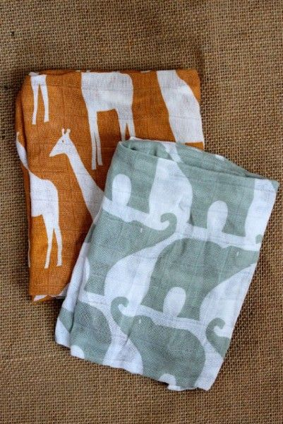 Lovely Zebi Baby Giraffee & Elephant Set Bundle of Burpies Burp Cloths | Funky Baby Gifts spotted at Not Another Baby Shop