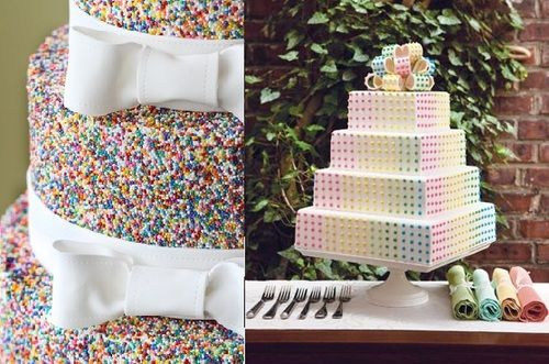 Candy button cake!: Covers Rainbows, Gay Wedding, Rainbow Wedding Cakes, Weddings, Rainbows Sprinkles, Rainbows Cakes, Sugar Covers, Rainbows Wedding Cakes, Dots Cakes