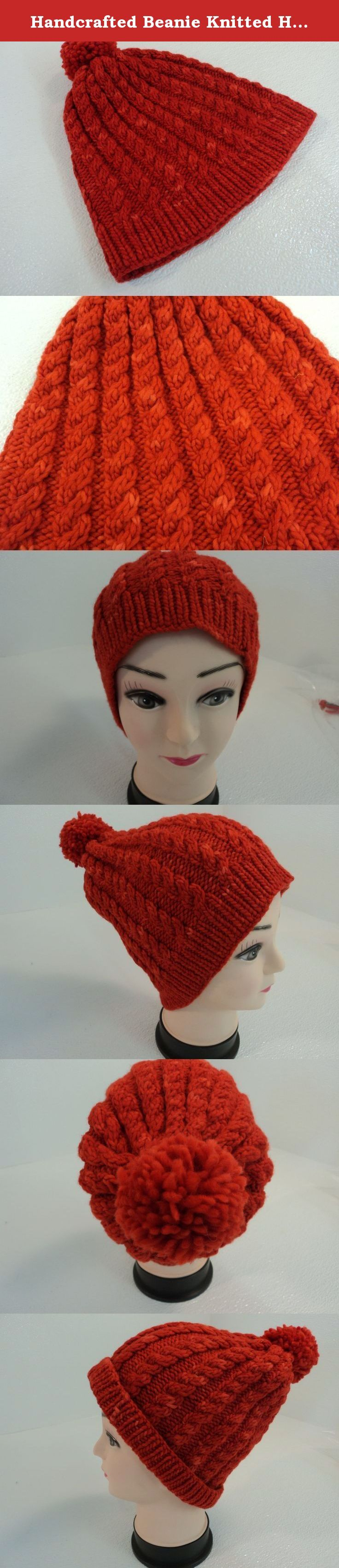 Handcrafted Beanie Knitted Hat Red Pom Pom Cable Stitch 100% Merino Wool Female. Gorgeous hat knit in a beautiful cable pattern.Handcrafted Beanie Knitted Hat Red Pom Pom Cable Stitch 100% Merino Wool Female. Item Number: 836-042715. Dimensions: 9in L x 5in W x 1in D - Box Size. Color: Reds. Country of Manufacture: United States. Style: Beanie Slouchy. Style: hipster. Style: zen. Feature: 20in Circumference Relaxed. Age Group: Adult. Age Range: 18-99. Size (Women's): Standard. Size Type:...