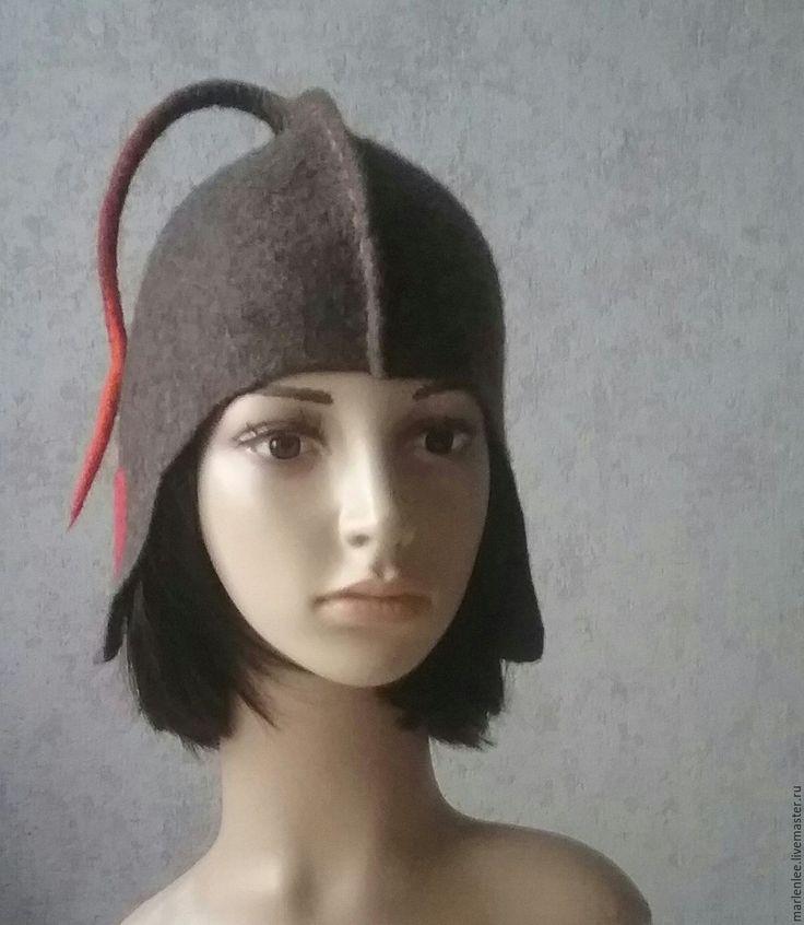 """Купить Шапочка """"Смелая"""" валяная - коричневый, однотонный, шапочка с ушками, шапка зимняя, шапка женская"""
