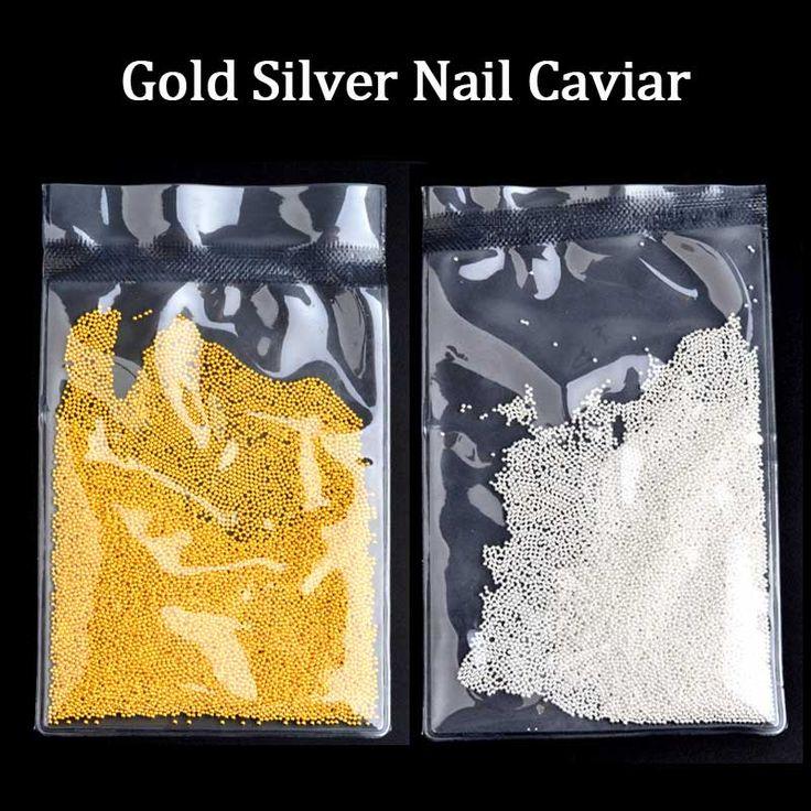1 paketi Moda Altın Gümüş Metal 3D Havyar Boncuk Tırnak Sanat Süslemeleri DIY Tırnak Aksesuarları Araçları