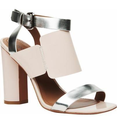 Стильные летние туфли из натуральной кожи на высоком устойчивом каблуке. Изящная геометрия составных деталей подчеркнута цветом – серебристый металлик и нежный бежевый.