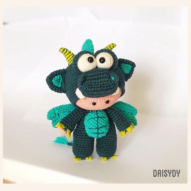 Elliott and his Dragon Dress  #greendragon #crochetdragon Designed by Daisydy