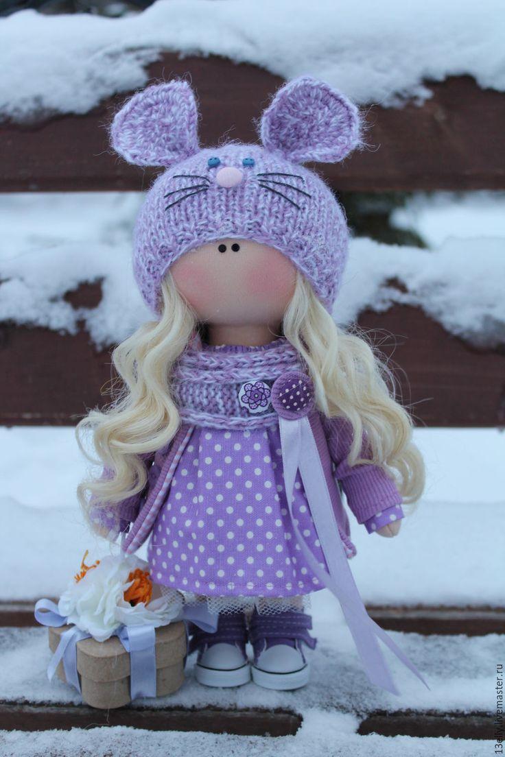 Купить Лавандовая мышка - сиреневый, интерьерная кукла, текстильная кукла, ткукла тыквоголовка, кукла в подарок
