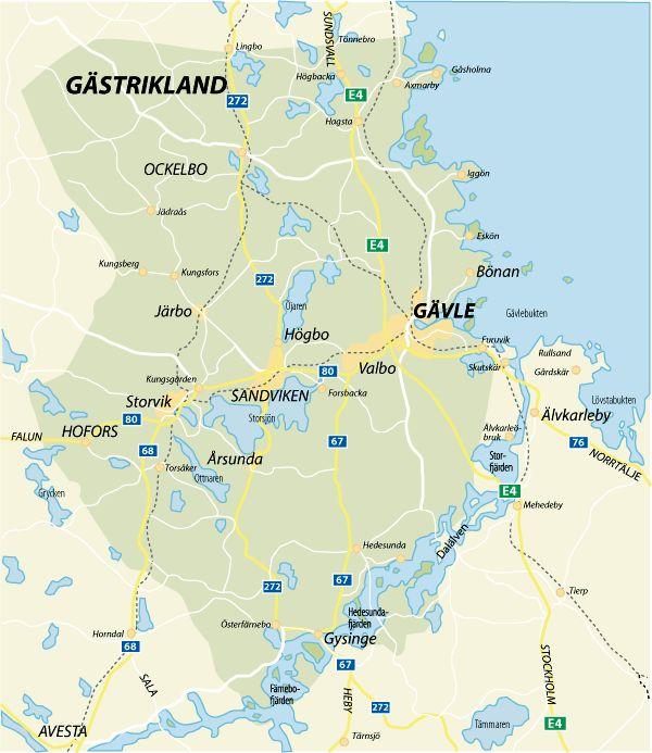 Karta över Gästrikland
