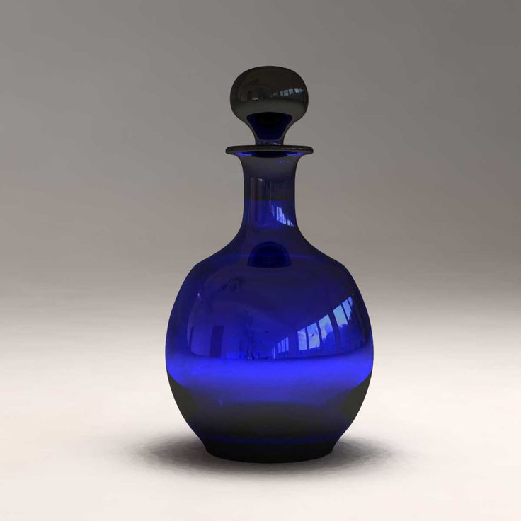 blue glass decanter