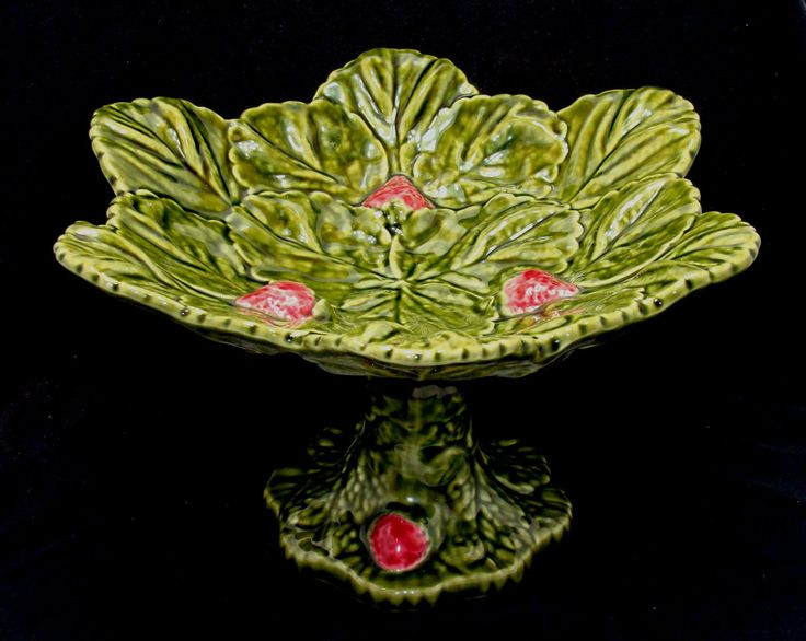 Vintage strawberry leaves footed bowl-Old majolica stand-Majolica pedestal bowl-Majolica strawberry leaves cake stand-majolica footed stand by BECKSRELICS on Etsy
