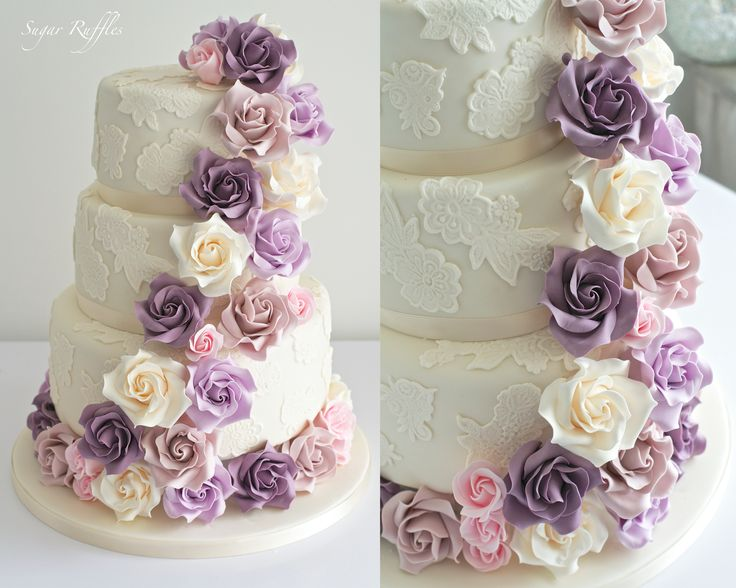 Sugar Ruffles, Elegant Wedding Cakes. Barrow in Furness and the Lake District, Cumbria: Cascading Roses & Lace Wedding Cake