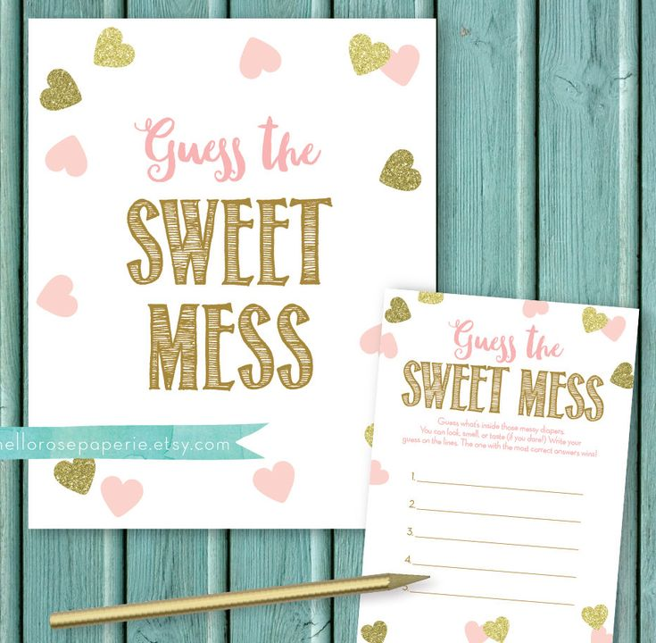 Pink And Gold Baby Shower Game . Guess The Sweet Mess Candy Bar Diaper Game  . Baby Girl Shower . Baby Diaper Game . Glitter Hearts